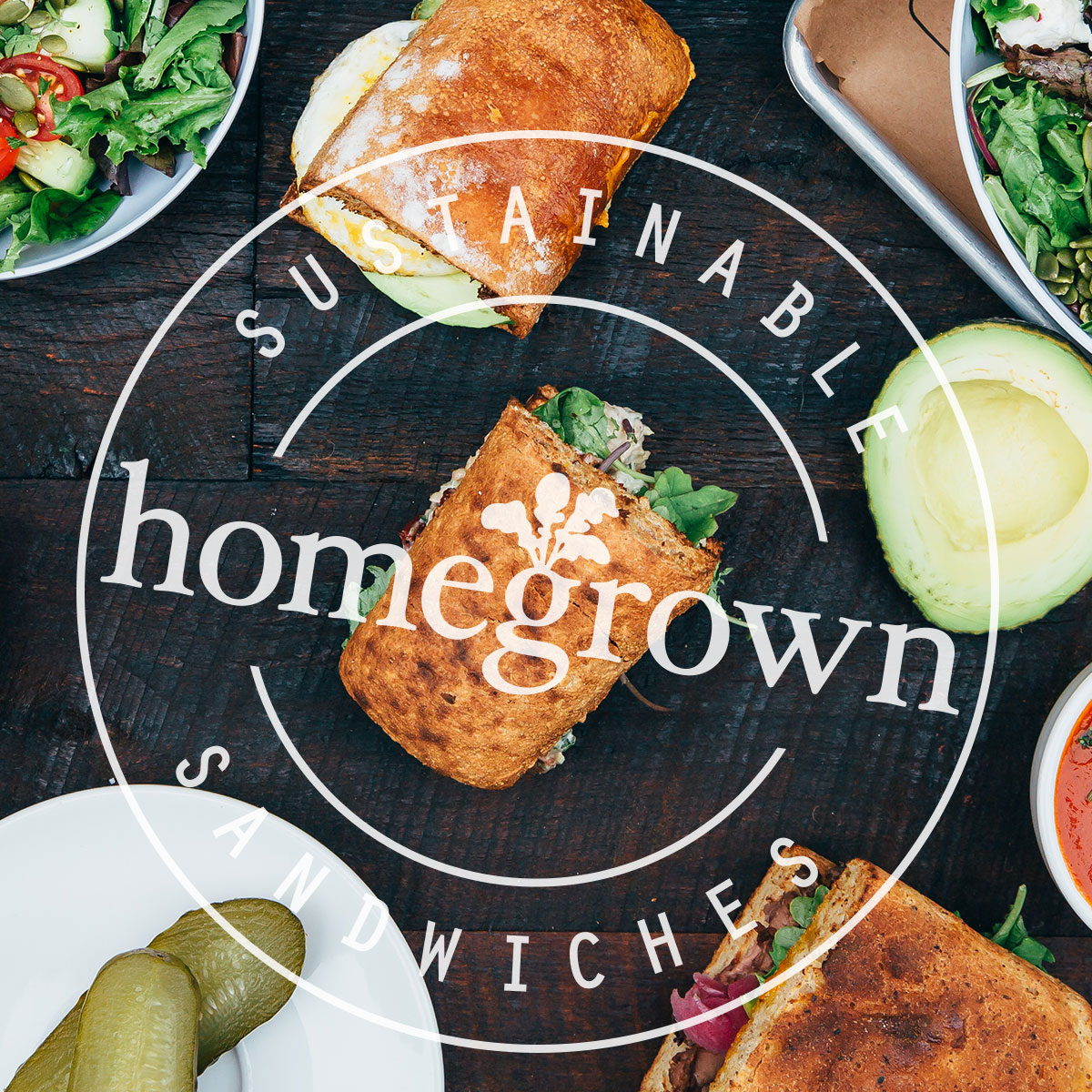 Homegrown Logo Seal over image of sandwich and ingredients