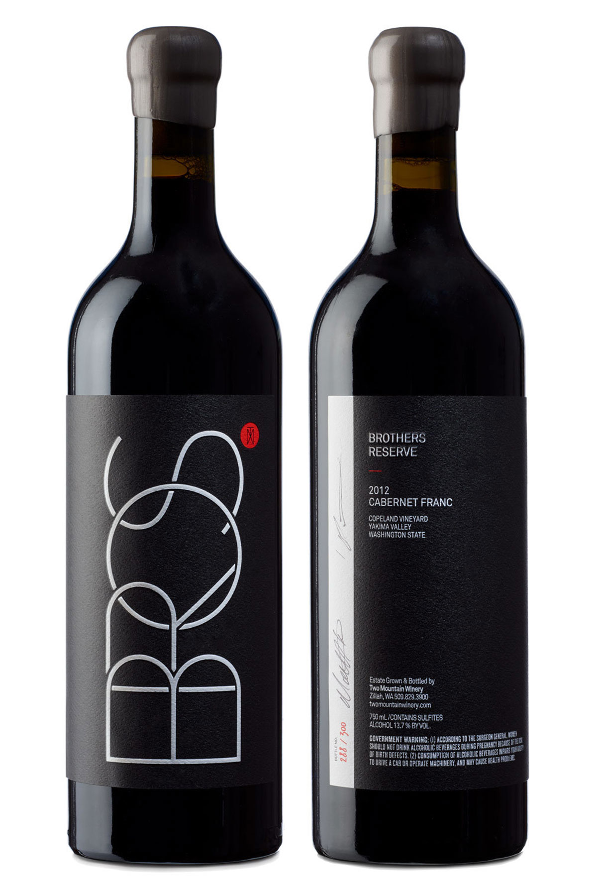 Two Mountain Bros wine bottles, front and back